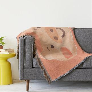 Kawaii Cute Happy Little Piggy. Throw Blanket