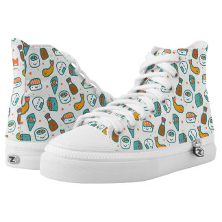 Kawaii Cute Japanese Sushi Pattern. Monogram. High Tops