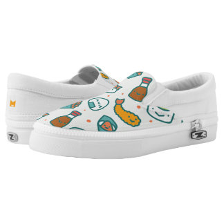 Kawaii Cute Japanese Sushi Pattern. Monogram. Printed Shoes