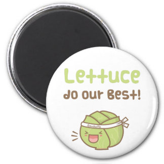 Kawaii Cute Lettuce Do Our Best Food Pun Humor Magnet