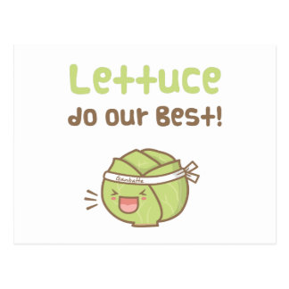 Kawaii Cute Lettuce Do Our Best Food Pun Humor Postcard