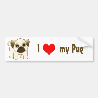 Kawaii Cute Little Pug Puppy Dog Cartoon Animal Bumper Sticker