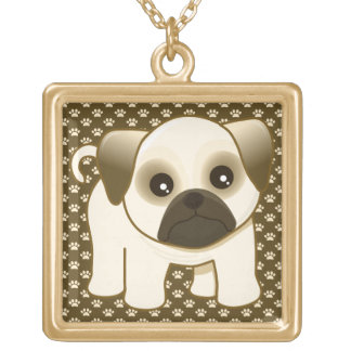 Kawaii Cute Little Pug Puppy Dog Cartoon Animal Square Pendant Necklace