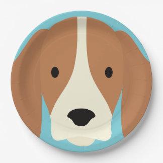 Kawaii Cute Little Puppy Dog. Paper Plate