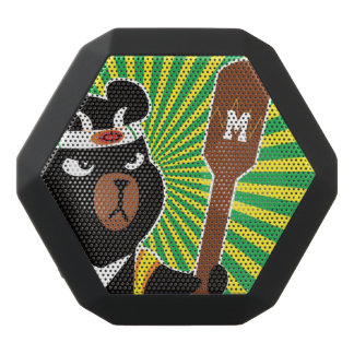 Kawaii Cute Ninja Bear for Nerd Geeks. Black Bluetooth Speaker