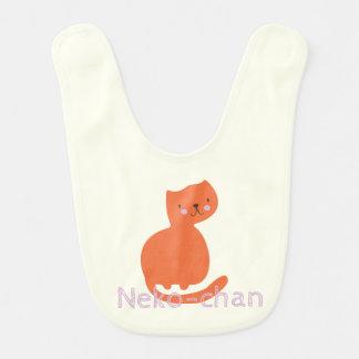 Kawaii Cute Orange Cat. Add Baby's Name. Bib