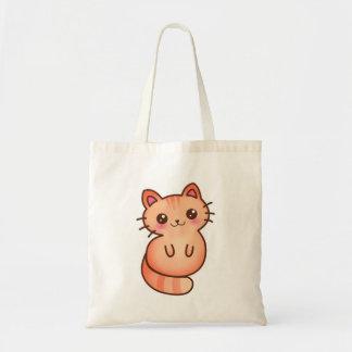 Kawaii Cute Orange Cat Illustration Budget Tote Bag