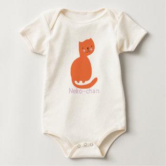 Kawaii Cute Orange Kitty Cat. Add Baby's Name. Baby Bodysuit