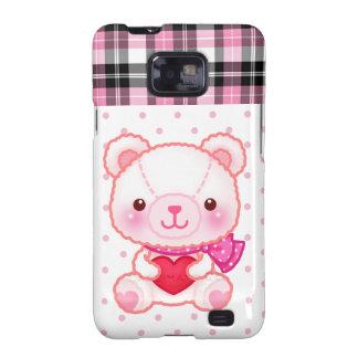 Kawaii cute pink bear on polka dots and pink plaid samsung galaxy s2 cover