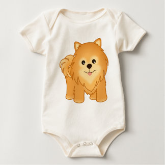 Kawaii Cute Pomeranian Puppy Dog Cartoon Animal Baby Bodysuit