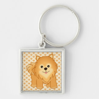 Kawaii Cute Pomeranian Puppy Dog Cartoon Animal Silver-Colored Square Key Ring