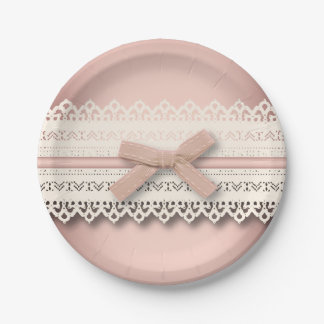 Kawaii Cute princess Pink bow Lace girly Paper Plate