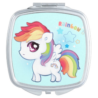 Kawaii cute rainbow pony travel mirror