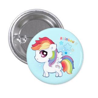 Kawaii cute rainbow pony with sparkle stars 3 cm round badge