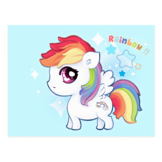 Kawaii cute rainbow pony with sparkle stars postcard