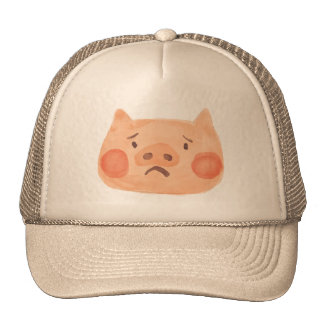 Kawaii Cute Sad Little Piggy. Cap