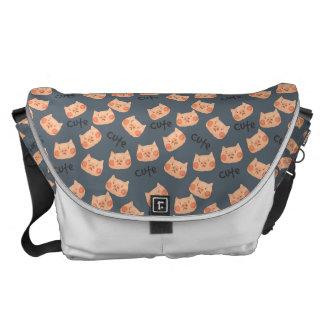 Kawaii Cute Sad Little Piggy. Courier Bags