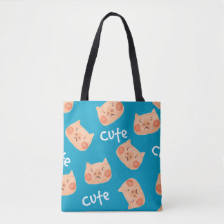 Kawaii Cute Sad Little Piggy. Tote Bag