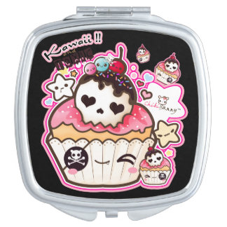 Kawaii cute skull cupcake mirrors for makeup