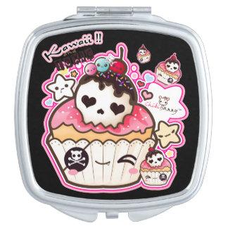 Kawaii cute skull cupcake travel mirror