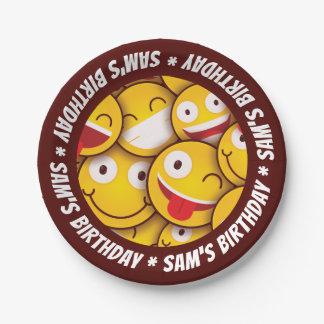 Kawaii Cute Smiley Emoji Emoticon Birthday. Paper Plate