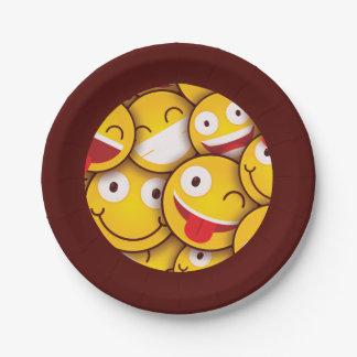 Kawaii Cute Smiley Emoji Emoticon. Paper Plate