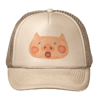 Kawaii Cute Surprised Little Piggy. Cap