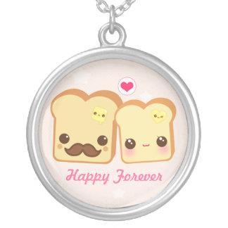 Kawaii cute toasts couple round pendant necklace
