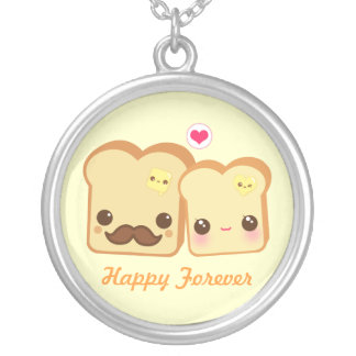 Kawaii cute toasts couple silver plated necklace