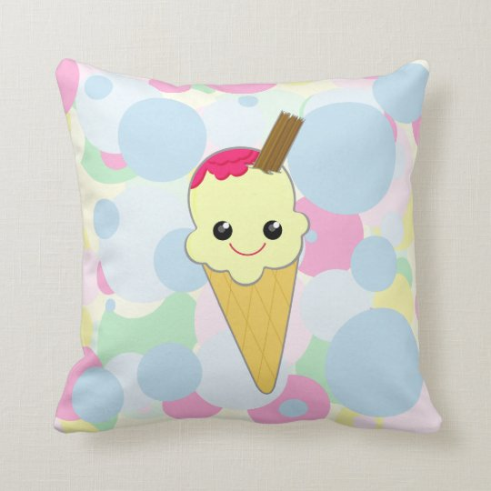 Kawaii Cute Waffle Ice Cream Cone Child's Pillow