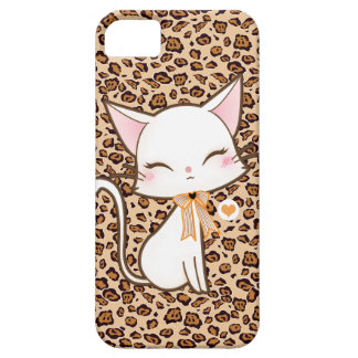 Kawaii cute white cat on leopard print background barely there iPhone 5 case