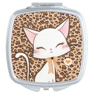 Kawaii cute white cat on leopard print background vanity mirror