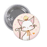 Kawaii cute white cat with cupcake 3 cm round badge