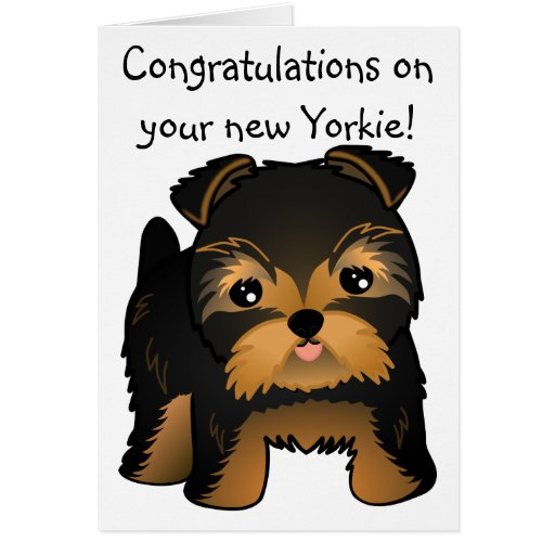 Kawaii Cute Yorkshire Terrier Puppy Dog Greeting Cards