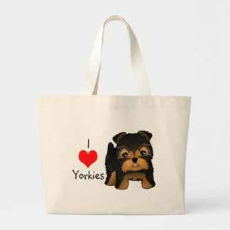 Kawaii Cute Yorkshire Terrier Puppy Dog Large Tote Bag