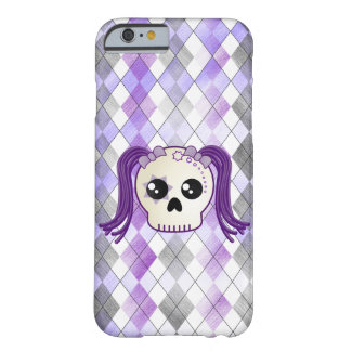Kawaii Cyberpunk Emo Sugar Skull on Argyle Plaid Barely There iPhone 6 Case