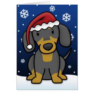 Kawaii Dachshund Christmas Card (Black & Tan)