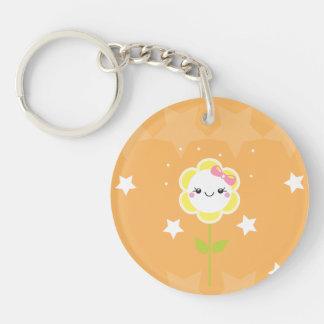 Kawaii Daisy Single-Sided Round Acrylic Key Ring