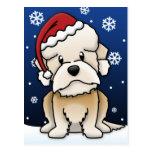 Kawaii Dandie Dinmont Terrier Christmas Postcard