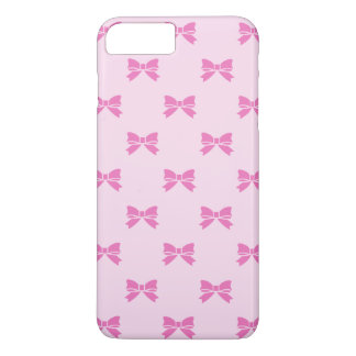 Kawaii Dark Pink Bows on Light Pink iPhone 7 Plus Case