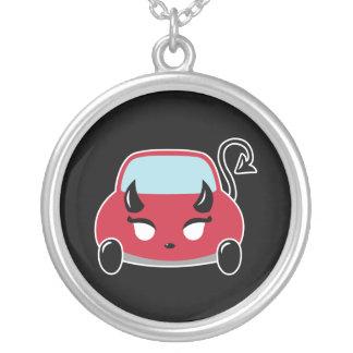 Kawaii Devil Car Round Pendant Necklace