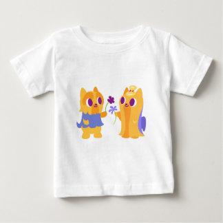Kawaii Dog Best Friend Yorkies Giving Flowers Baby T-Shirt