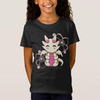Kawaii Dragon Pink Flowers Girl's Shirt