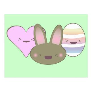 KAWAII EASTER TRIO BUNNY CHOCOLATE EGG HEART HAPPY POSTCARD