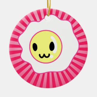 Kawaii Egg Happy Face Christmas Ornament