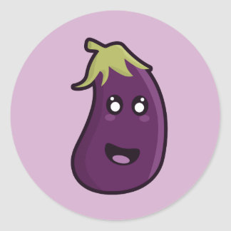 Kawaii eggplant classic round sticker