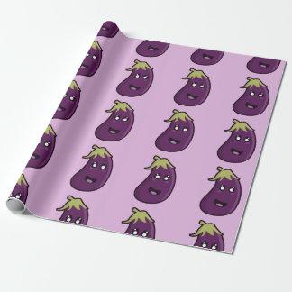 Kawaii eggplant wrapping paper