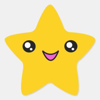 Kawaii Face Gold Star Sticker