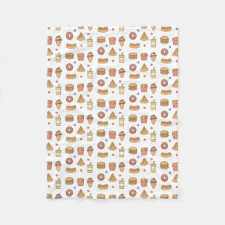 Kawaii Fast Food Doodles Fleece Blanket