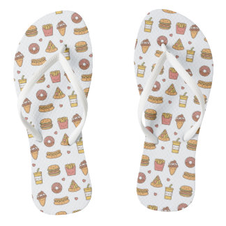 Kawaii Fast Food Doodles Girls Flip Floops Flip Flops